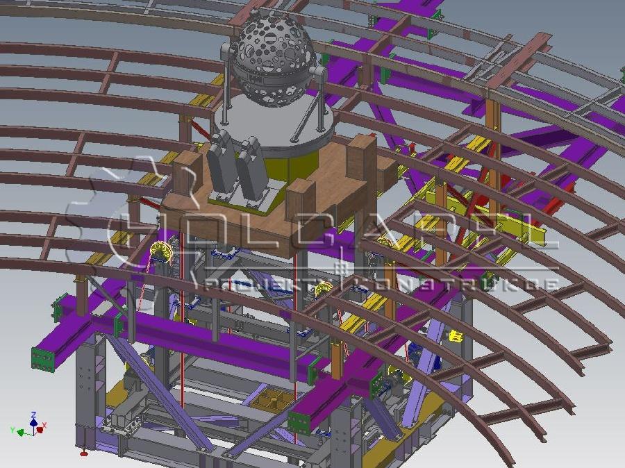 Teleskopický výtah centrálního projektoru planetária